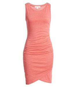 Pink/Peach Ruched  Body Con Summer Dress